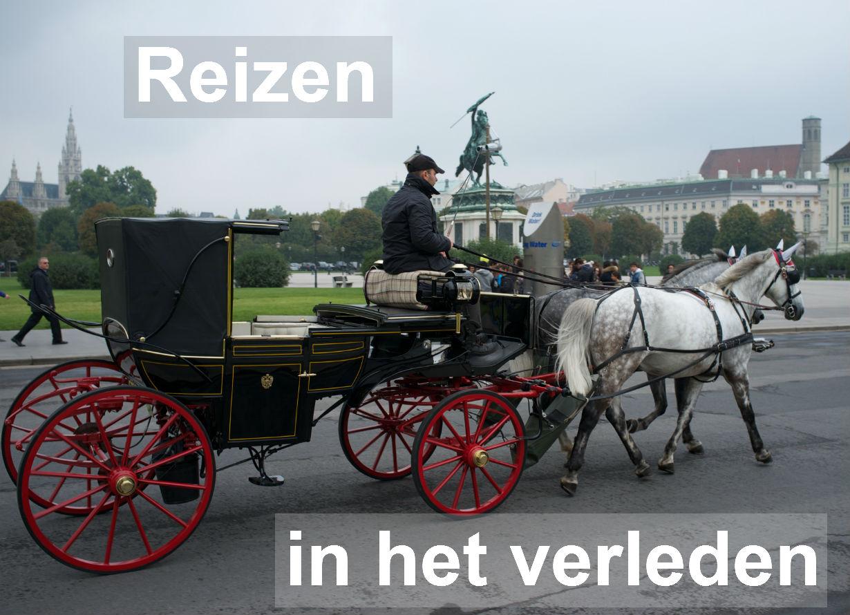 Afbeelding Reizen in het verleden. Door paarden getrokken koets in Wenen