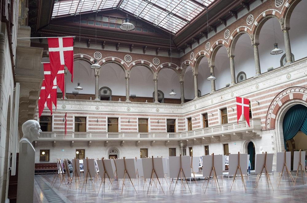 De grote ontvangstzaal van het Stadhuis te Kopenhagen