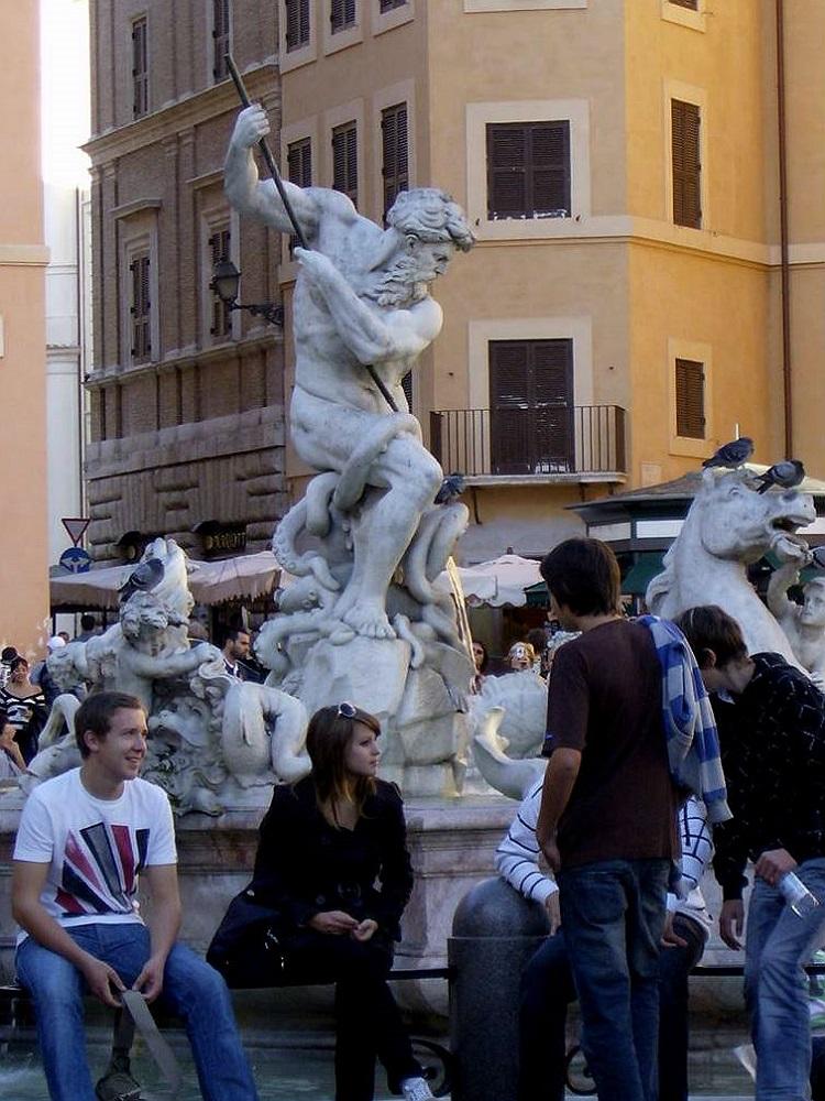Piazza Navona te Rome met de Neptunusfontein