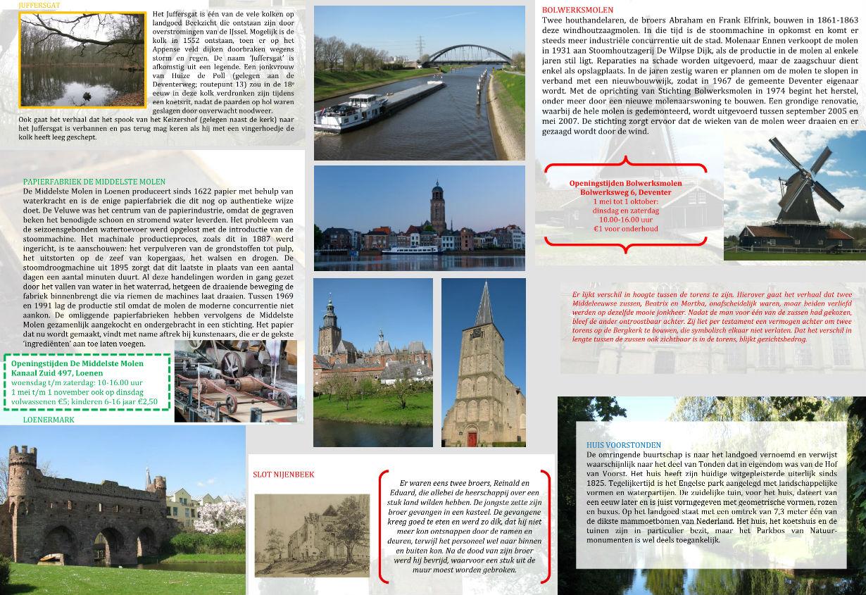 Collage van wandel- en fietsroutes voor camping De Adelaar