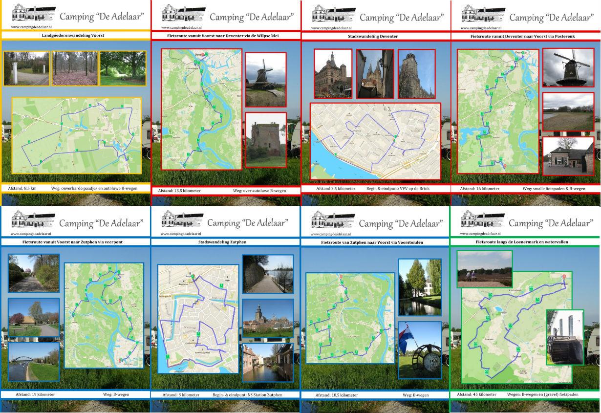 Voorkanten van de wandel- en fietsroutes voor camping De Adelaar