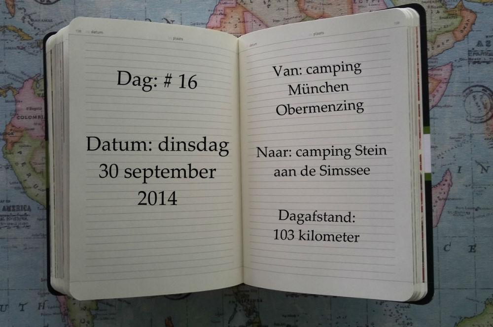 Op dag 16, dinsdag 30 september 2014, fietsten we 103 kilometer van camping München Obermenzing naar camping Stein aan de Simssee