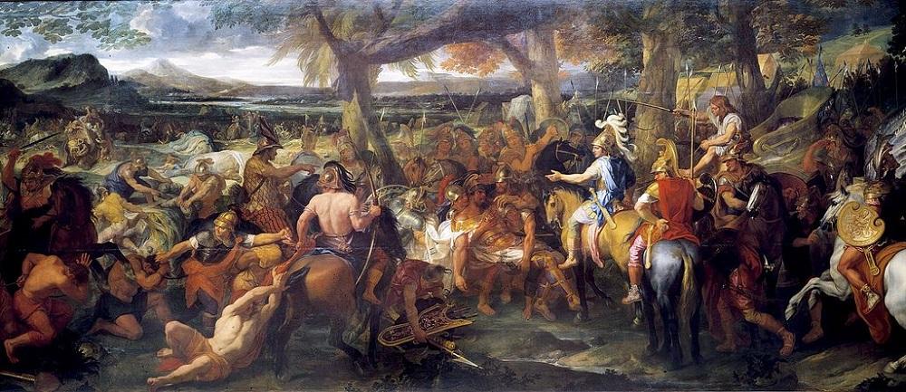 Schilderij door Charles Le Brun uit 1673. Na de Slag bij de Hydaspes in 326 v. Chr. verschijnt de verslagen Porus voor Alexander de Grote