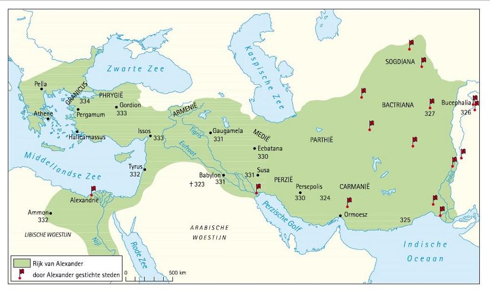 Een kaart met het Rijk van Alexander de Grote, gestichte steden en jaartallen