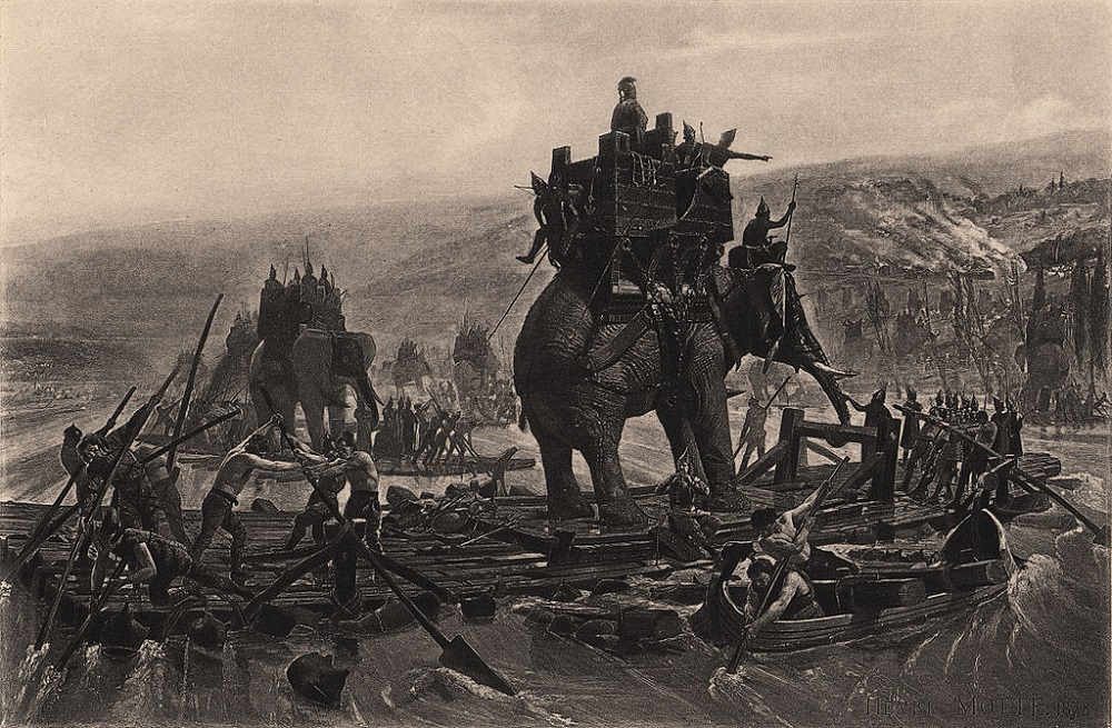 Tekening door Henri Motte uit 1878. Hannibal steekt met olifanten de rivier de Rhône over