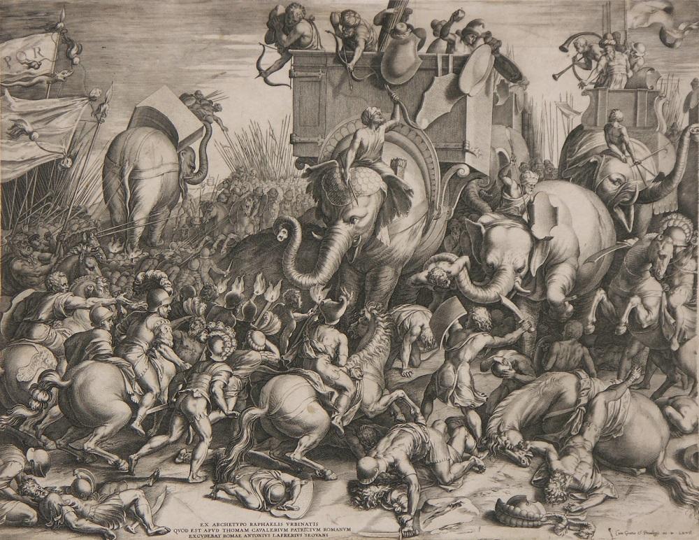 Tekening door Cornelis Cort uit 1567. De Slag bij Zama in 202 v. Chr. waar de Romeinen de Carthaagse Hannibal verslaan
