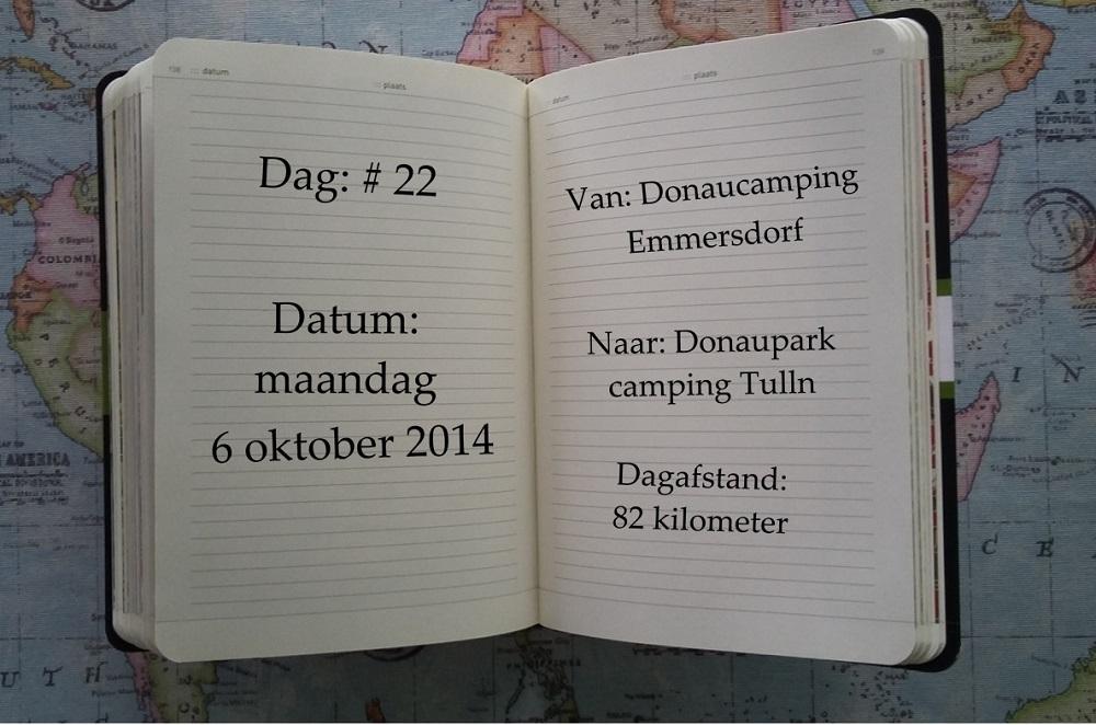 Op dag 22, maandag 6 oktober 2014, fietsten we 82 kilometer van Emmersdorf naar Tulln