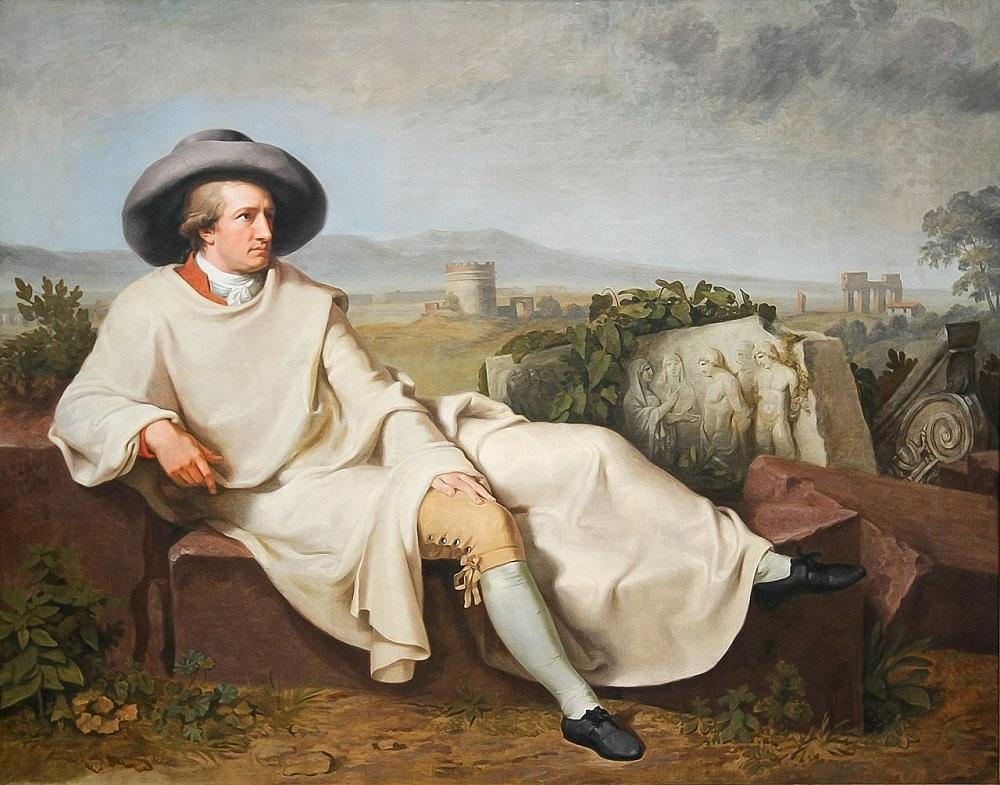 Schilderij met portret van Goethe in Italië, geschilderd door Tischbein in 1787