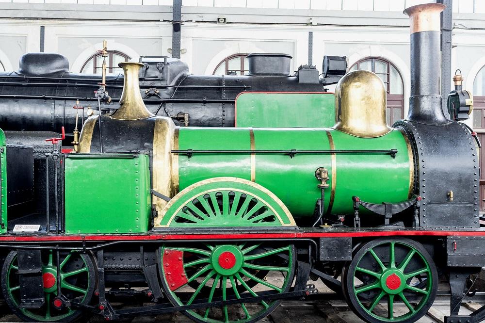Stoomtrein in het Spoorwegmuseum te Madrid