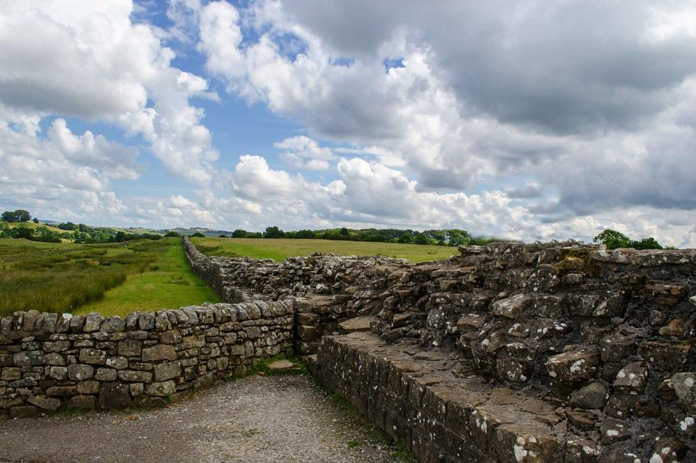 Een detail van de Muur van Hadrianus te Engeland
