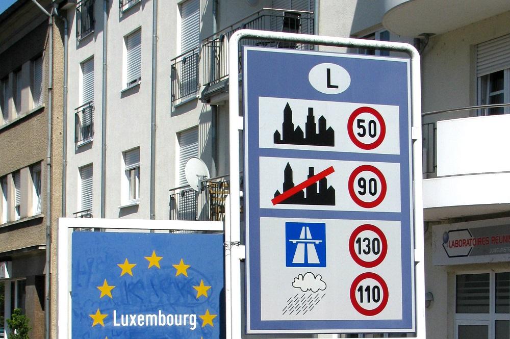Het grensbord van Luxemburg