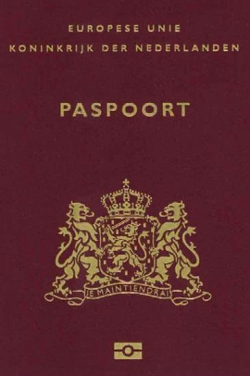 Voorkant van een Nederlands paspoort